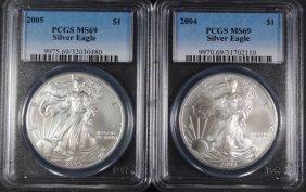 2004 & 2005 American Silver Eagles, Pcgs Ms-69
