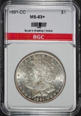 1891-cc Morgan Dollar Bgc Graded Ch Bu+