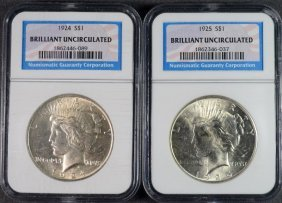 1924 & 1925 Peace Dollars Ngc Brilliant Uncirculated