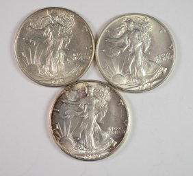 3 Bu Walking Liberty Halves 1945, 47, 46-s