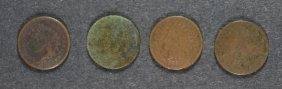 Lot Of ( 4 ) 1869 Indian Head Cents, Ag/g Key Date