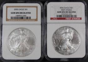 2 - American Silver Eagles - 2005 Ngc Gem Unc & 2006