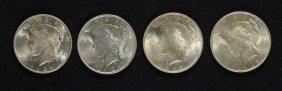 Lot Of ( 4 ) Choice Bu Peace Silver Dollars: 1922, 1923
