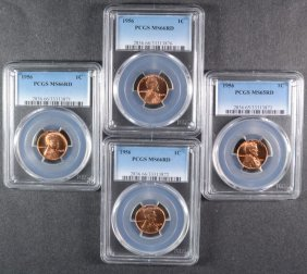 ( 4 ) 1956 Lincoln Cents: 1-ms-65 Red & 3-ms-66 Red