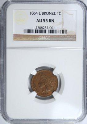 1864-l Bronze Indian Head Cent, Ngc Au-55 Brown