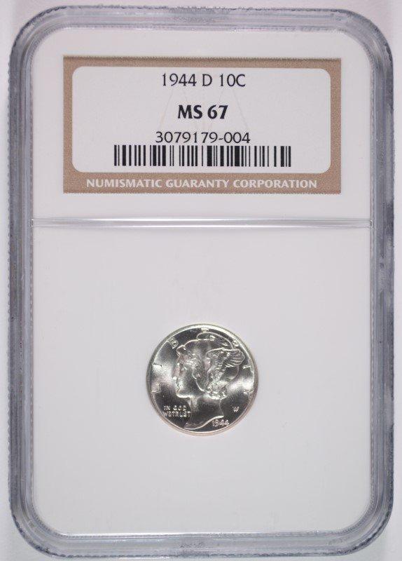 1944-D MERCURY DIME, NGC MS-67