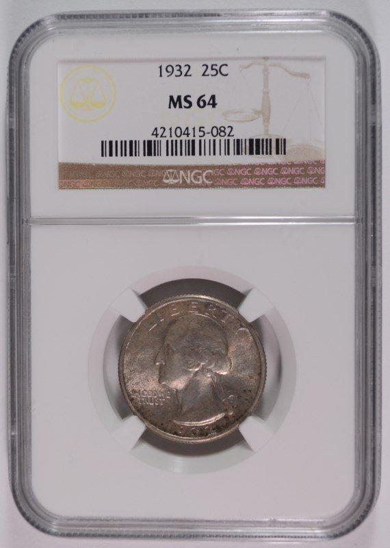 1932 WASHINGTON QUARTER NGC MS64
