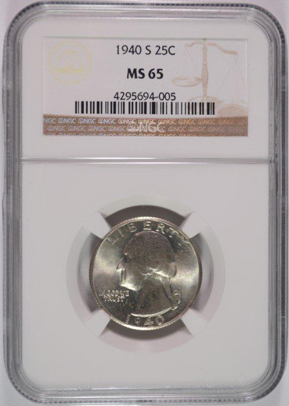 1940-S WASHINGTON QUARTER, NGC MS-65