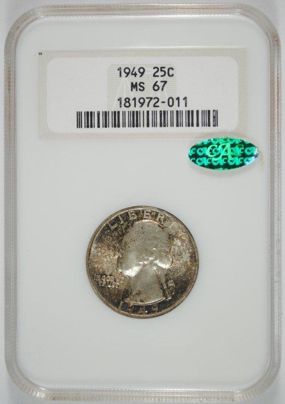 1949 WASHINGTON QUARTER, NGC MS-67!! CAC, TONED, ONLY
