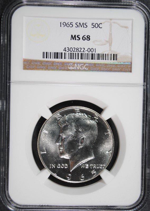 1965 SMS KENNEDY HALF DOLLAR, NGC MS-68
