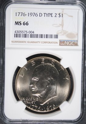 1976-d Type 2 Bicentennial Eisenhower Dollar, Ngc Ms-66