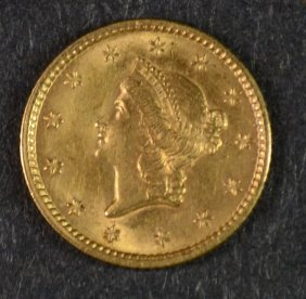 1853 $1 Liberty Head Gold Ch Bu