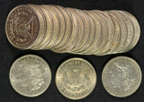 Au / Bu Roll Of 1921 Morgan Silver Dollars - All Nice