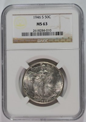 1946-s Walking Liberty Half Dollar, Ngc Ms-63