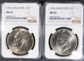 1976-d Type-1 & 1976-d Type-2 Eisenhower Dollars, Ngc