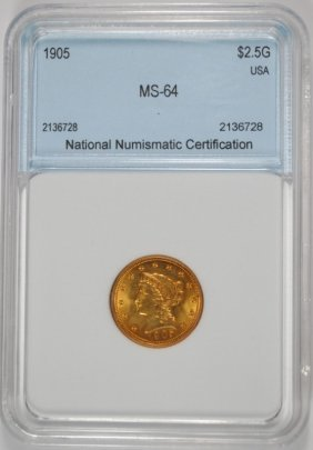 1905 $2.50 Liberty Head Gold Nnc Ch Bu