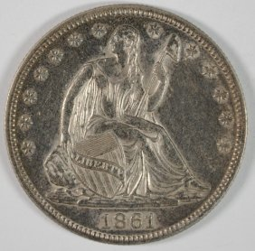 1861 Seated Liberty Half Ch Au Civil War Date