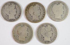 5 Different Nice Circ. Barber Half Dollars: 1899-s,