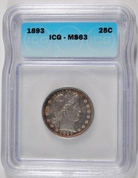 1893 Barber Quarter Icg Ms63