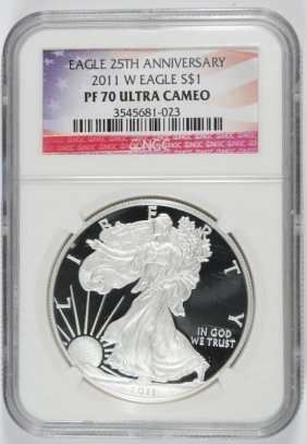 2011 25th Anniversary American Silver Eagle, Ngc Pf-70