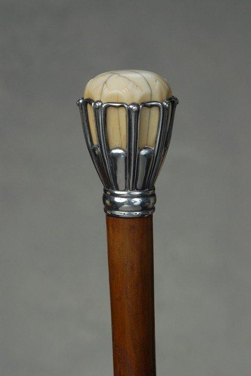 15: A wonderful Tiffany ivory and silver cane