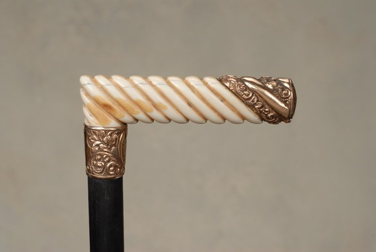 1: A 1902 twisted ivory and gold cane