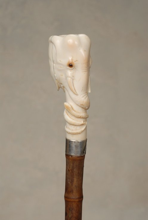3: A very good ivory elephant and snake cane