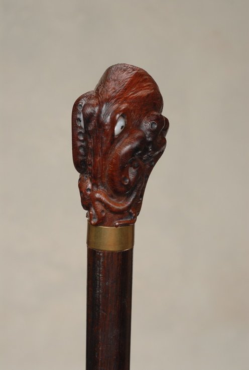 12: A splendid carved snakewood octopus cane