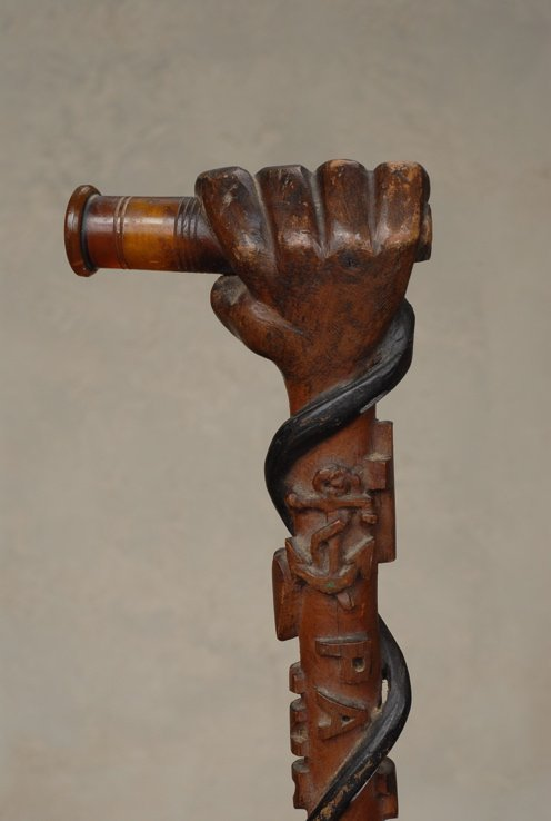 18: An American folk art cane with a Masonic theme