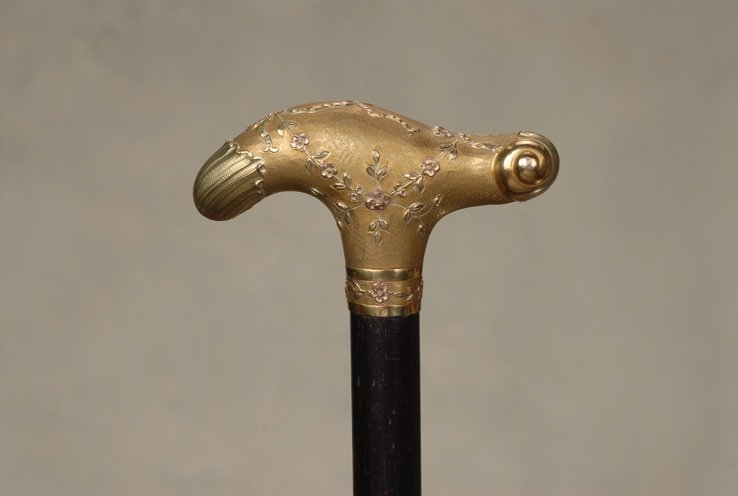 19: A beautiful vermeil silver cane