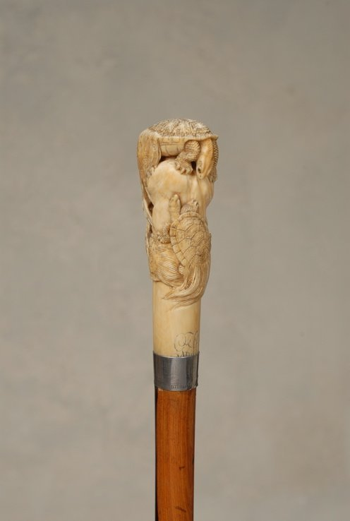 20: A great Japanese ivory cane of tortoises (minogame)