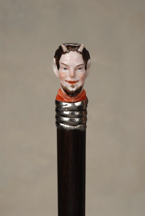 22: A porcelain character cane of Mephistopheles