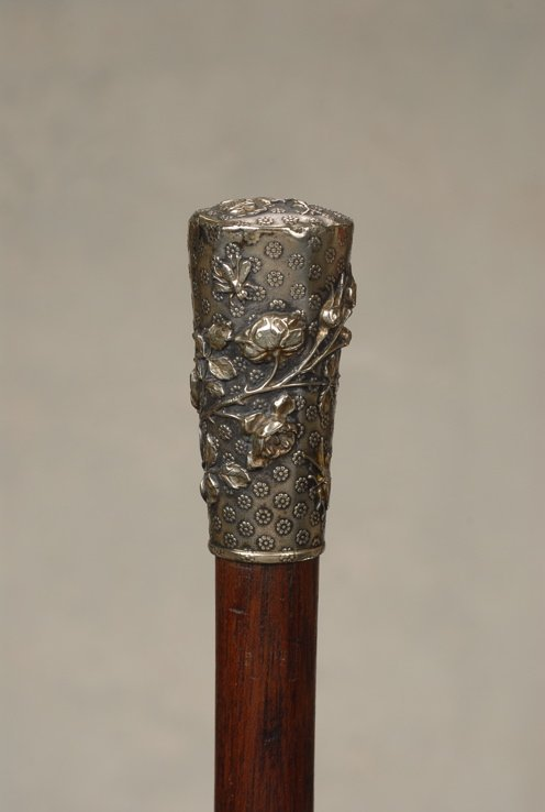 44: A lovely French silver cane with rose boughs