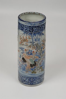 A Very Fine Japanese Porcelain Umbrella/stick Stand