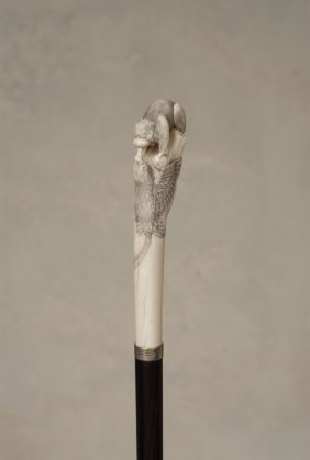 A Great Japanese Ivory Cane Of A Monkey And Bird