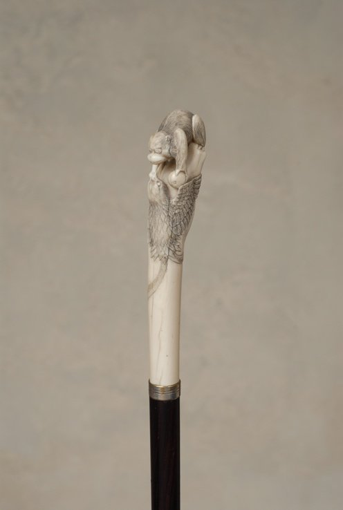 56: A great Japanese ivory cane of a monkey and bird