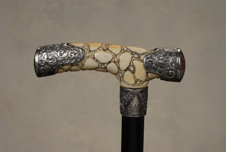 63: A very nice ivory and silver decorative cane