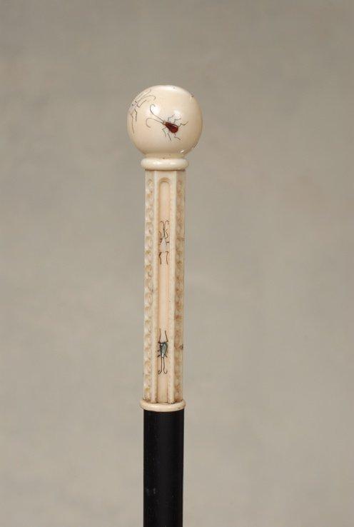 65: A Japanese ivory ball and stem cane with shibayama