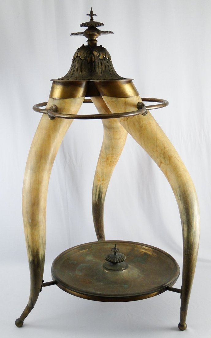 80: A great cow horn and brass umbrella/stick stand