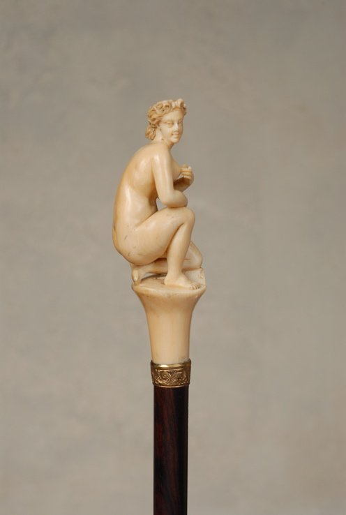 95: A superb ivory cane of a Classical nude
