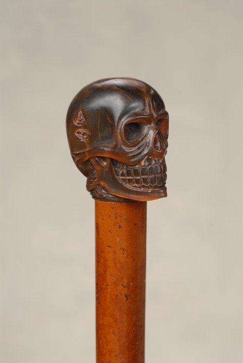 14: A great horn skull and snake Memento Mori cane