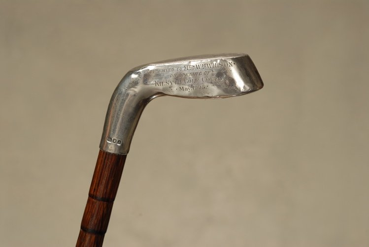 A very nice English silver putter presentation cane