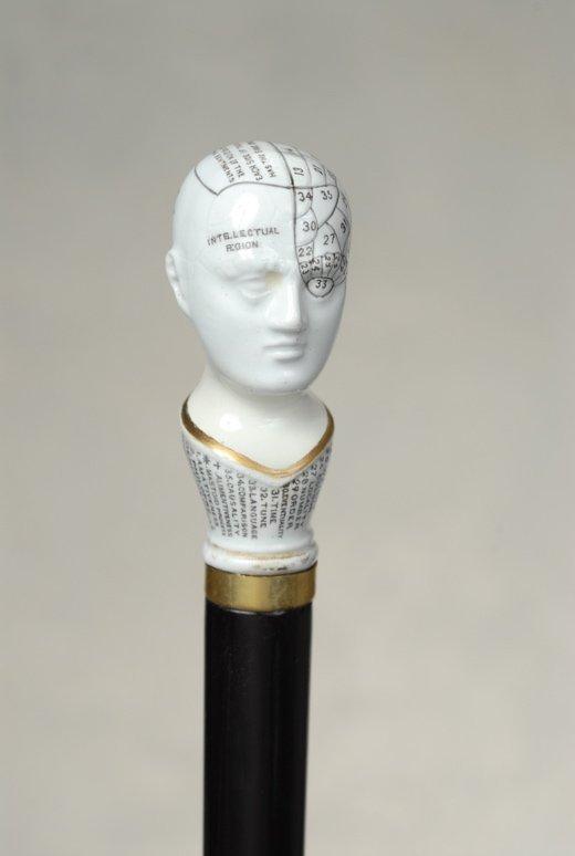 A wonderful porcelain phrenology head cane