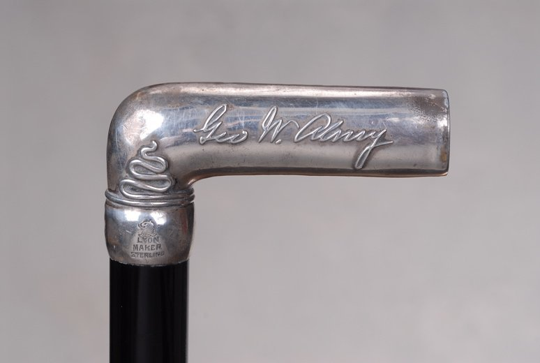 The cane of George W. Almy, with a bowling theme