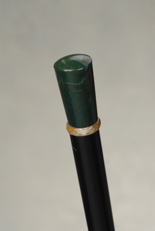 A beautiful bloodstone cane with a crystal ring