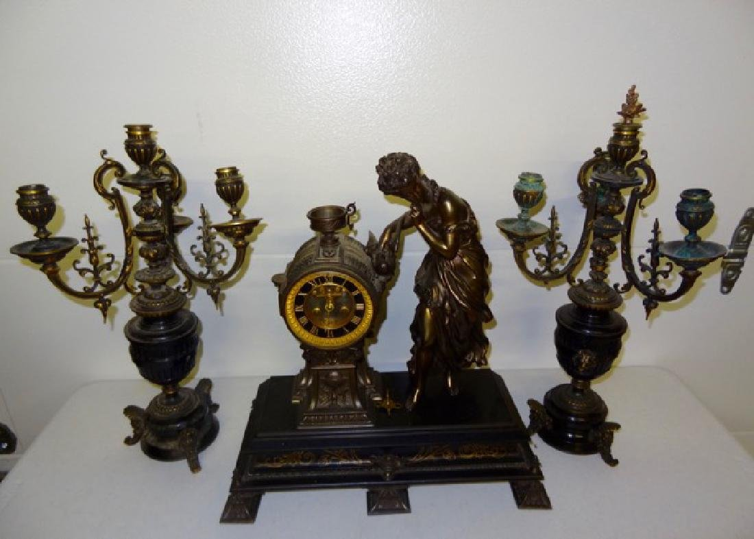 Large Ansonia 3Pc's Figural Clock Set