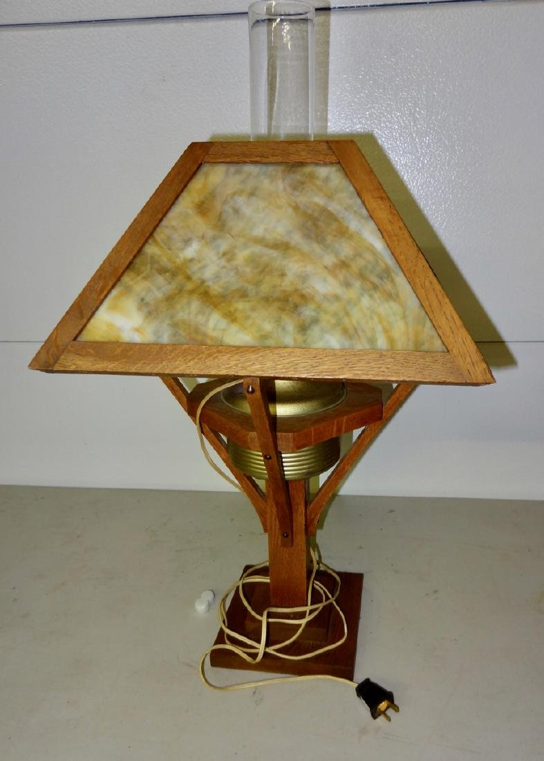 Electrofied Oak Mission Kerosene Table Lamp