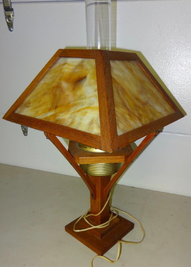 Electrofied Oak Mission Kerosene Table Lamp - 2