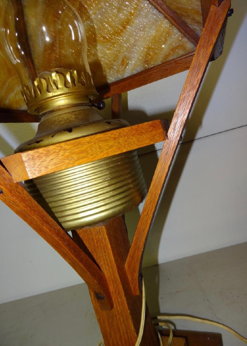 Electrofied Oak Mission Kerosene Table Lamp - 4