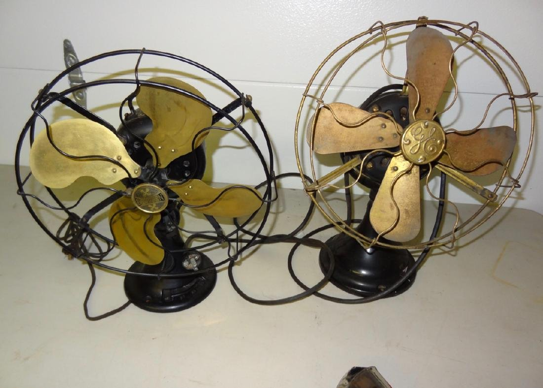 Two Early Electric Oscillating Brass Fans